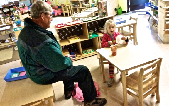 That is not how Montessori children sit at a table, Grandpa Jack, but we won't tell