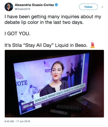 del Alexandria Ocasio Cortez lipstick tweet