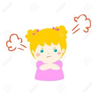 Cute cartoon angry girl character vector.