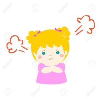 Cute cartoon angry girl character vector.