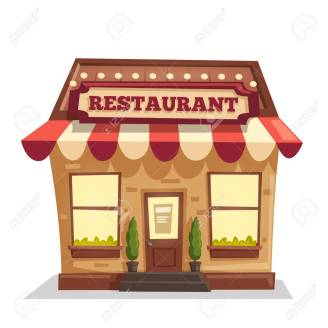 Restaurant or cafe. Exterior building. Vector cartoon illustration. Food and drink